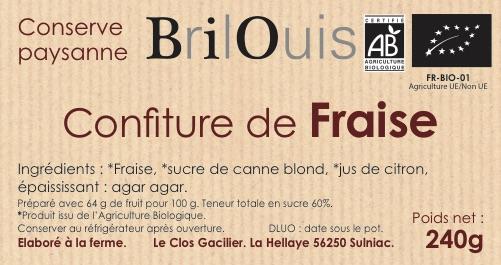 Confiture de fraise bio 240g Brilouis