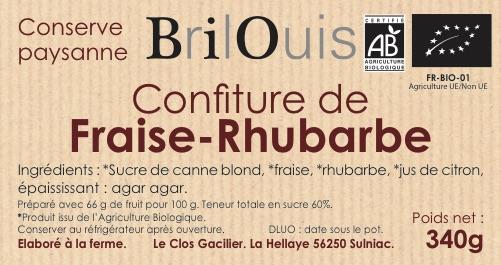 Confiture de fraise-rhubarbe bio 340g Brilouis
