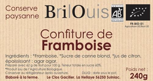 Confiture de framboise bio 240g Brilouis