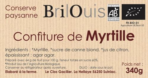 Confiture de myrtille bio 340g Brilouis