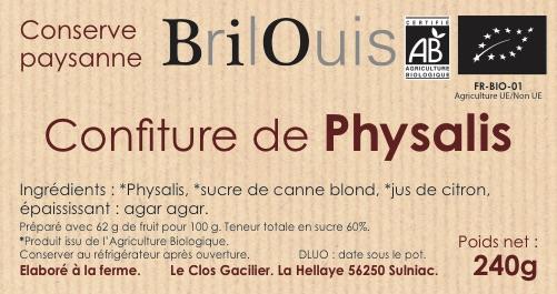 Confiture de physalis bio 240g Brilouis