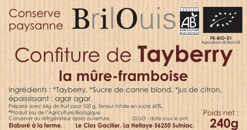 Confiture de tayberry bio - la mûre-framboise 240g Brilouis