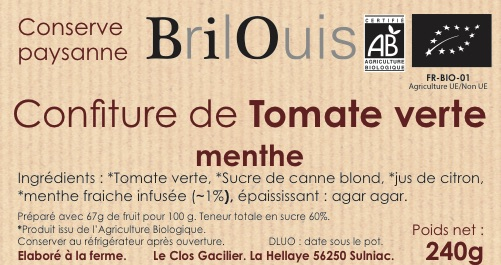 Confiture de tomate verte menthe bio 240g Brilouis