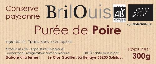 Purée de poire bio 300g Brilouis