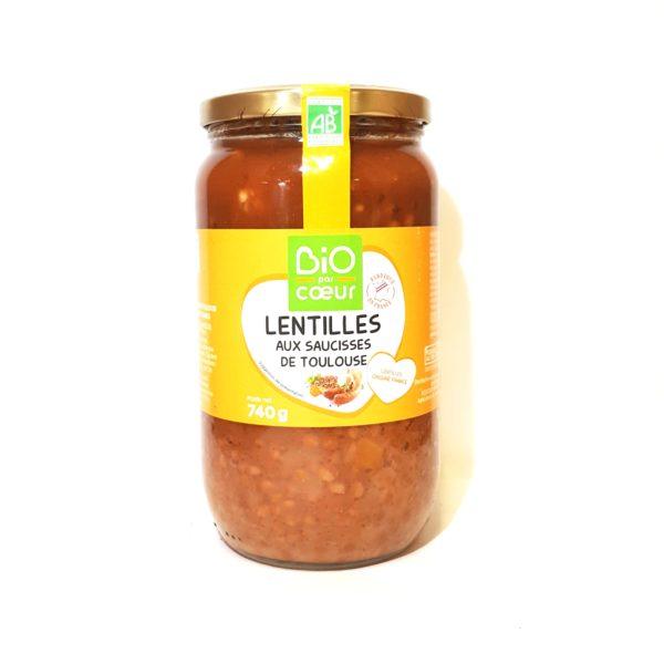 lentilles aux saucisses de Toulouse bio-Halle terre native-questembert-epicerie biologique-56